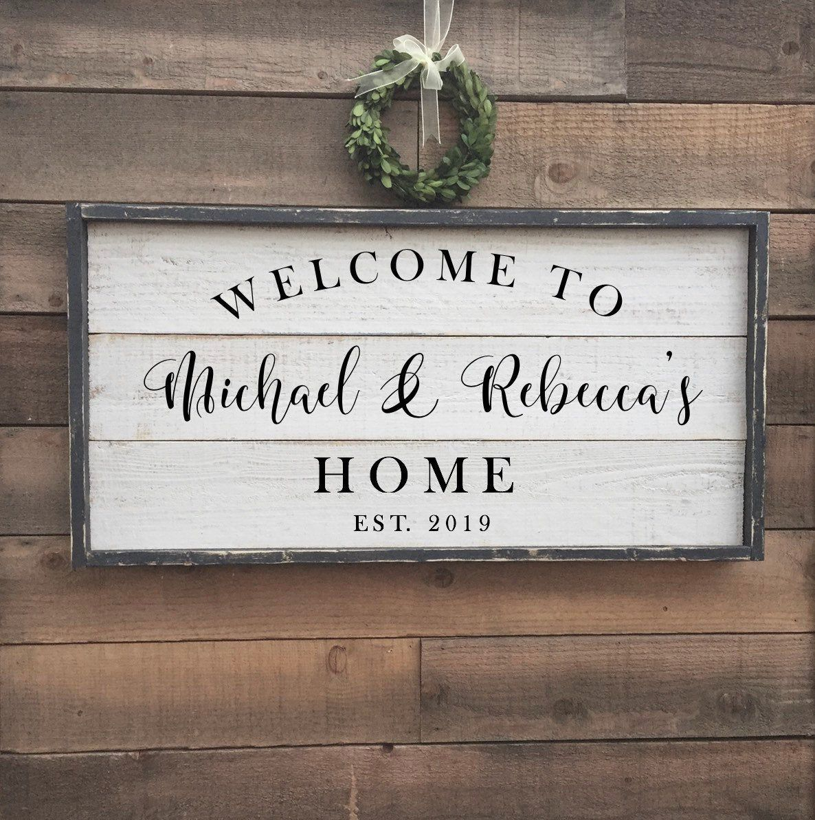 Excited To Share This Item From My Etsy Shop Welcome To Our Home Custom Welcome Sign Framed Shiplap Wood Sign Shiplap Wood Wood Signs Diy Wood Signs