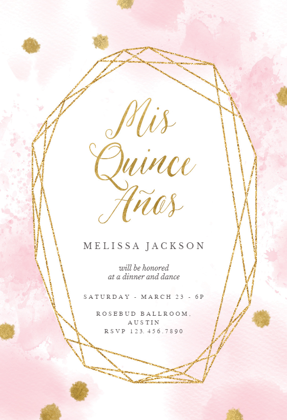 Pink And Gold Polygon Frame Quinceanera Invitation Template Free Greetings Island Quinceanera Invitations Invitation Template Birthday Invitation Templates