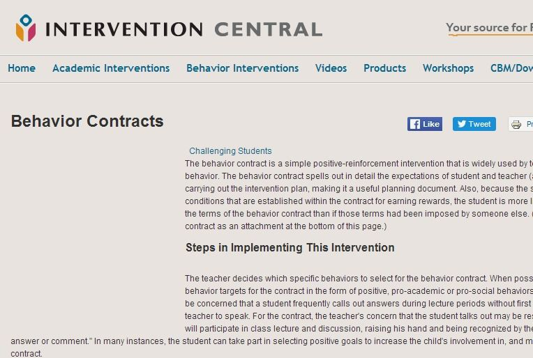Creating and Implementing Behavior Contracts Intervention Central