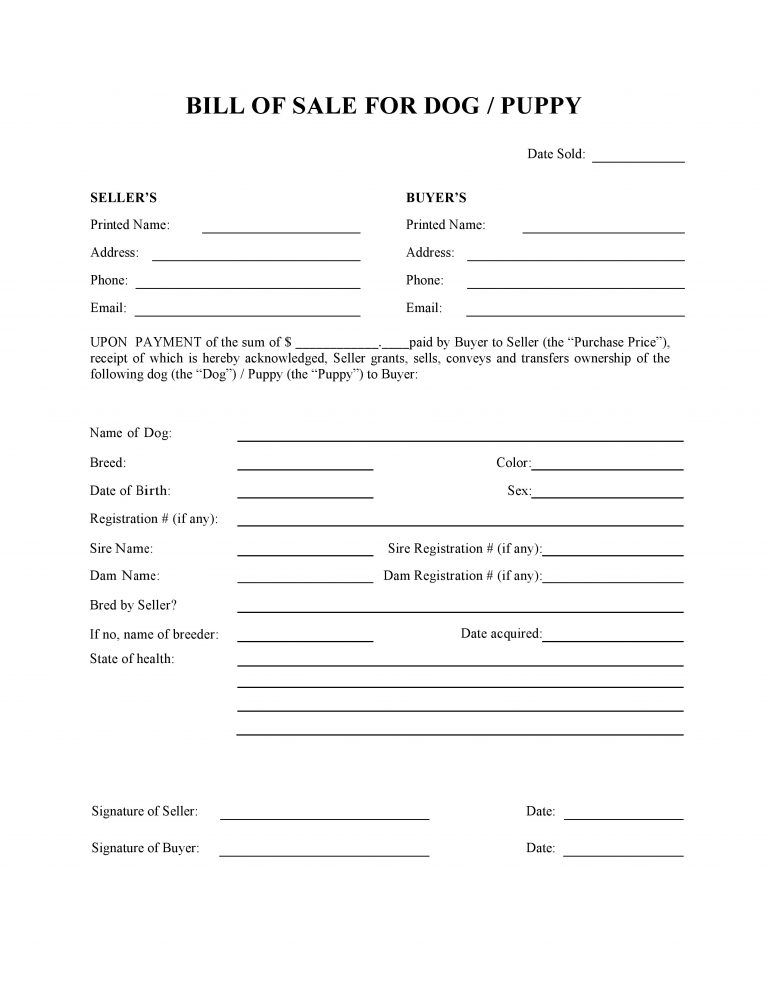 Dog Or Puppy Bill Of Sale Form Contract Template Puppies Dog