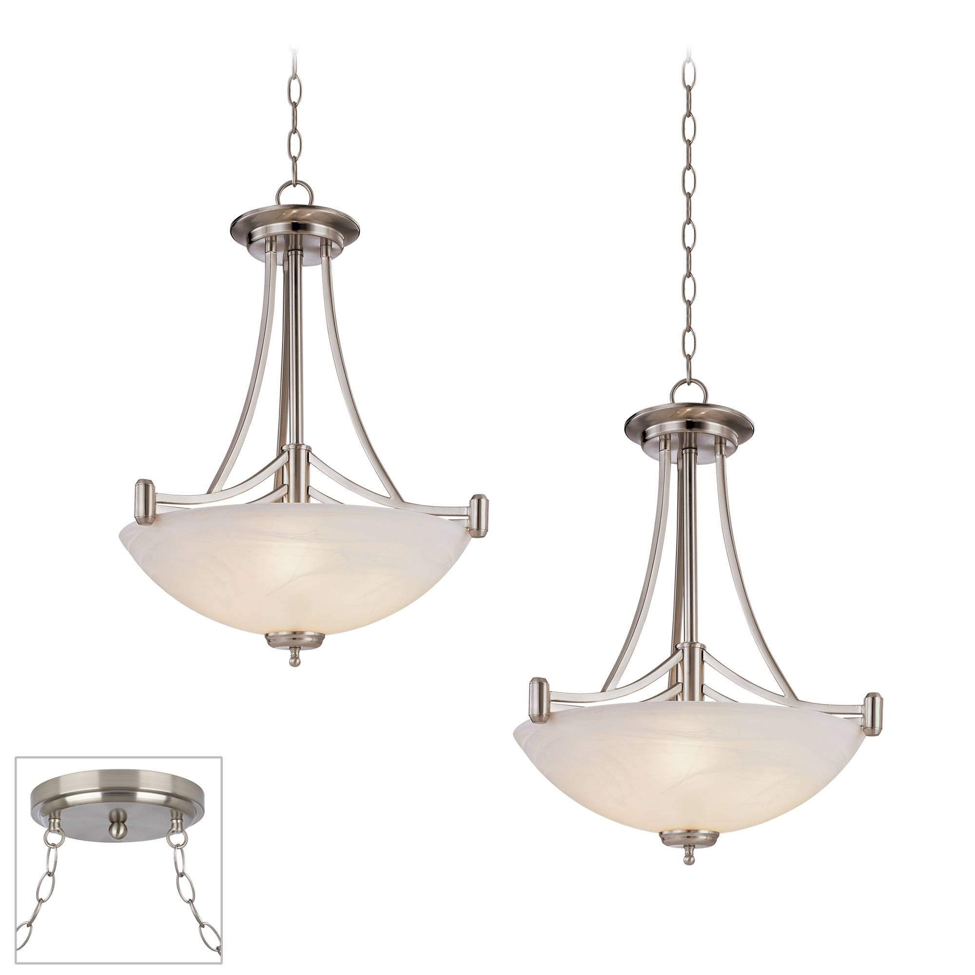 Kathy Ireland Deco Scale Brushed Steel 2 Light Swag Chandelier