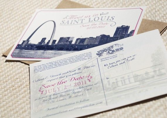 vintage skyline postcard save the date saint louis design fee