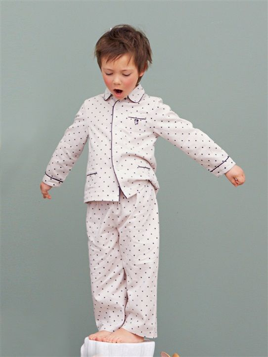 8b6147b4f1 Boys pajamas from France. A neutral colored Christmas Eve option. (The  polka dots are actually stars.)