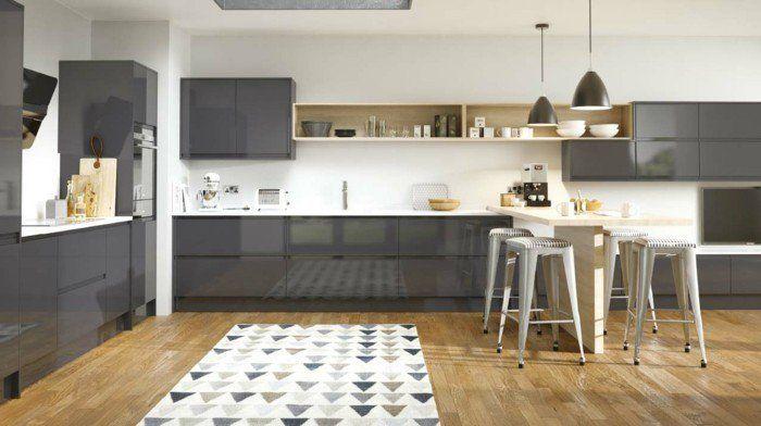 Cuisine gris anthracite 56 id es pour une cuisine chic et moderne couleur sols and mur for Peinture gris brillant mur