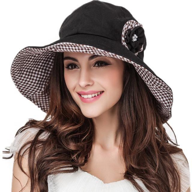 Wide Brim Summer Hats For Women Cotton Beach Sun Hat