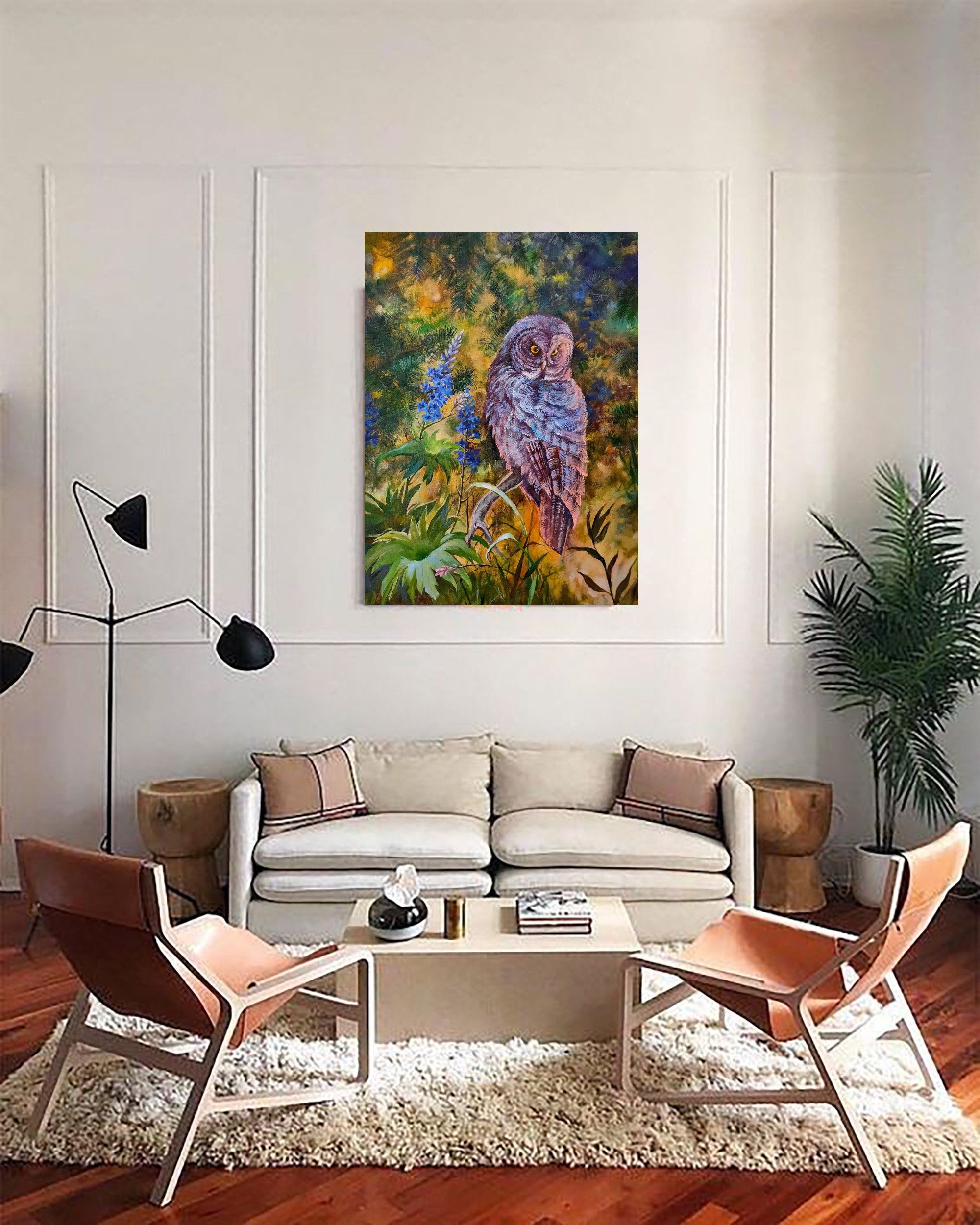 Owl Oil Painting Canvas Original Art Misty Trees Bird Animals Etsy Living Room Decor Apartment Small Living Room Decor Living Room Chairs Modern