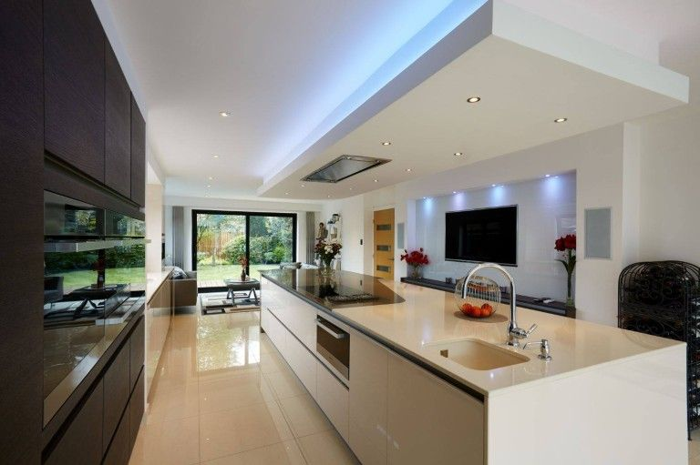 Contemporary Linear Kitchen Island Extension Open Plan