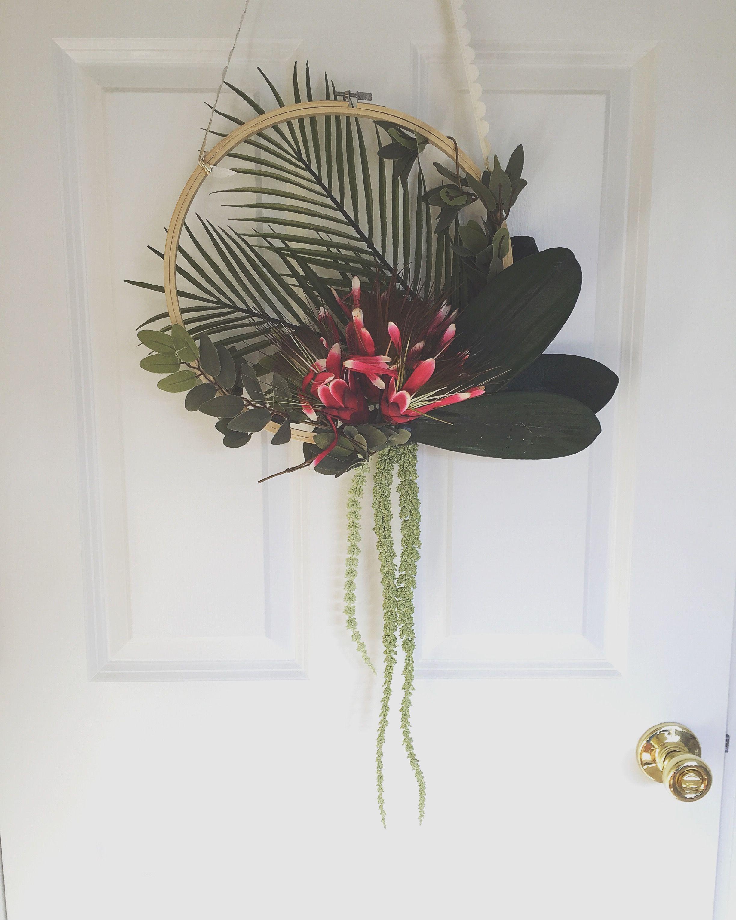 embroidery hoop wreath summer wreath tropical wreath boho