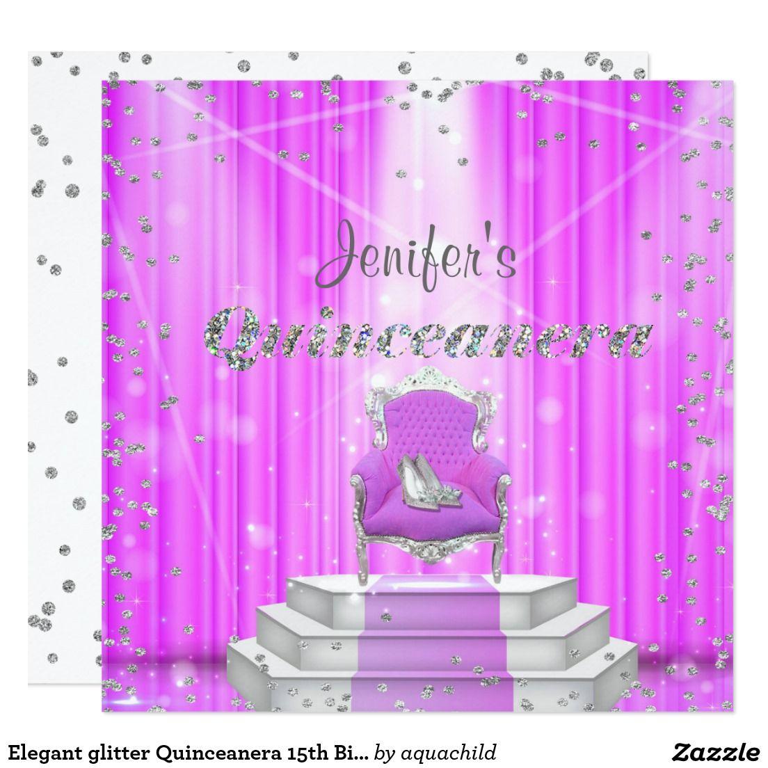 elegant glitter quinceanera 15th birthday invitation