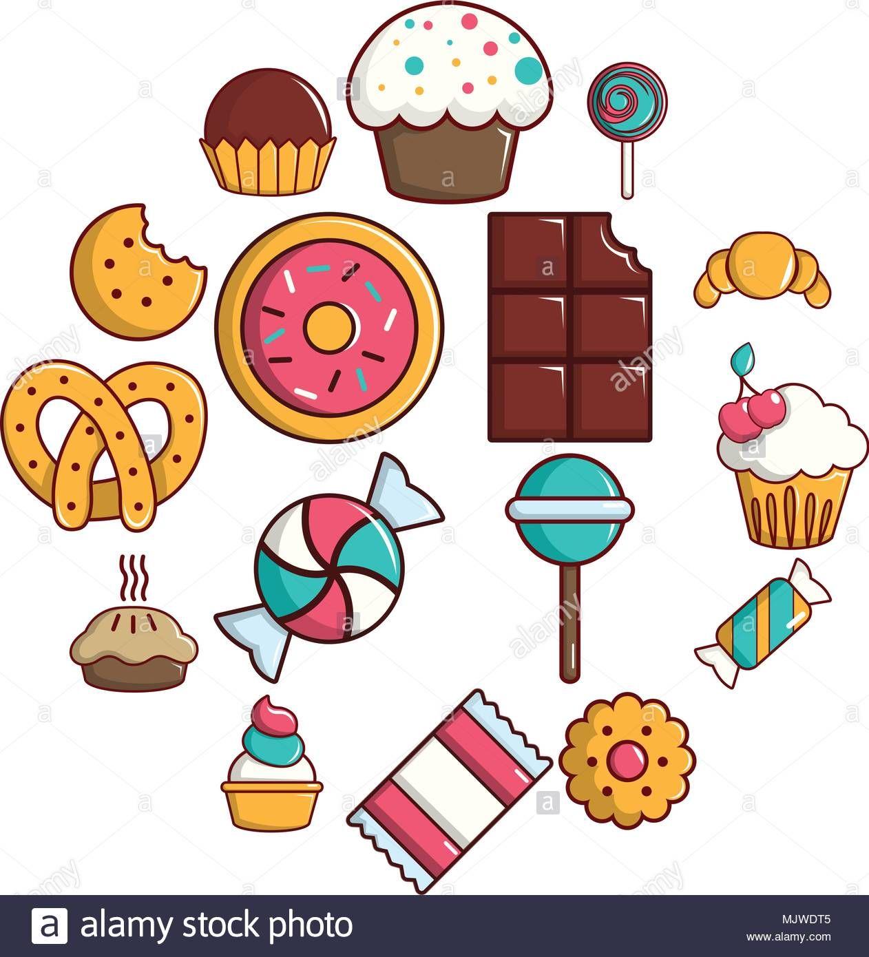 Descargar Este Vector Dulces Tartas De Golosinas Conjunto De Iconos De Estilo De Dibujos Animados Mjwdt5 De La Bi Dibujos Dulces Dibujos Dibujos De Colores