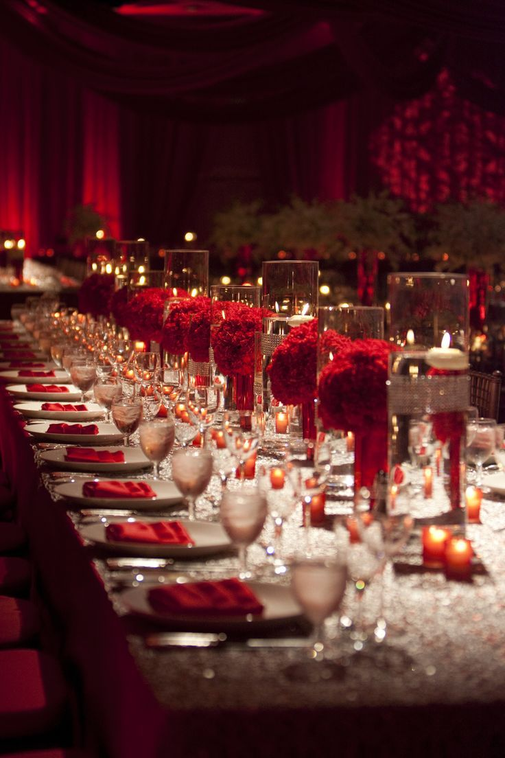 37 Mind-Blowingly Beautiful Wedding Reception Ideas// love the incorporation of red, not overpowering but still a statement