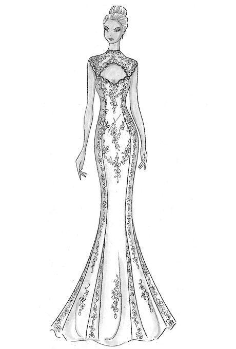 Tiered Sketch Wedding Dress Drawings Fashion Illustration Dresses Dress Design Drawing
