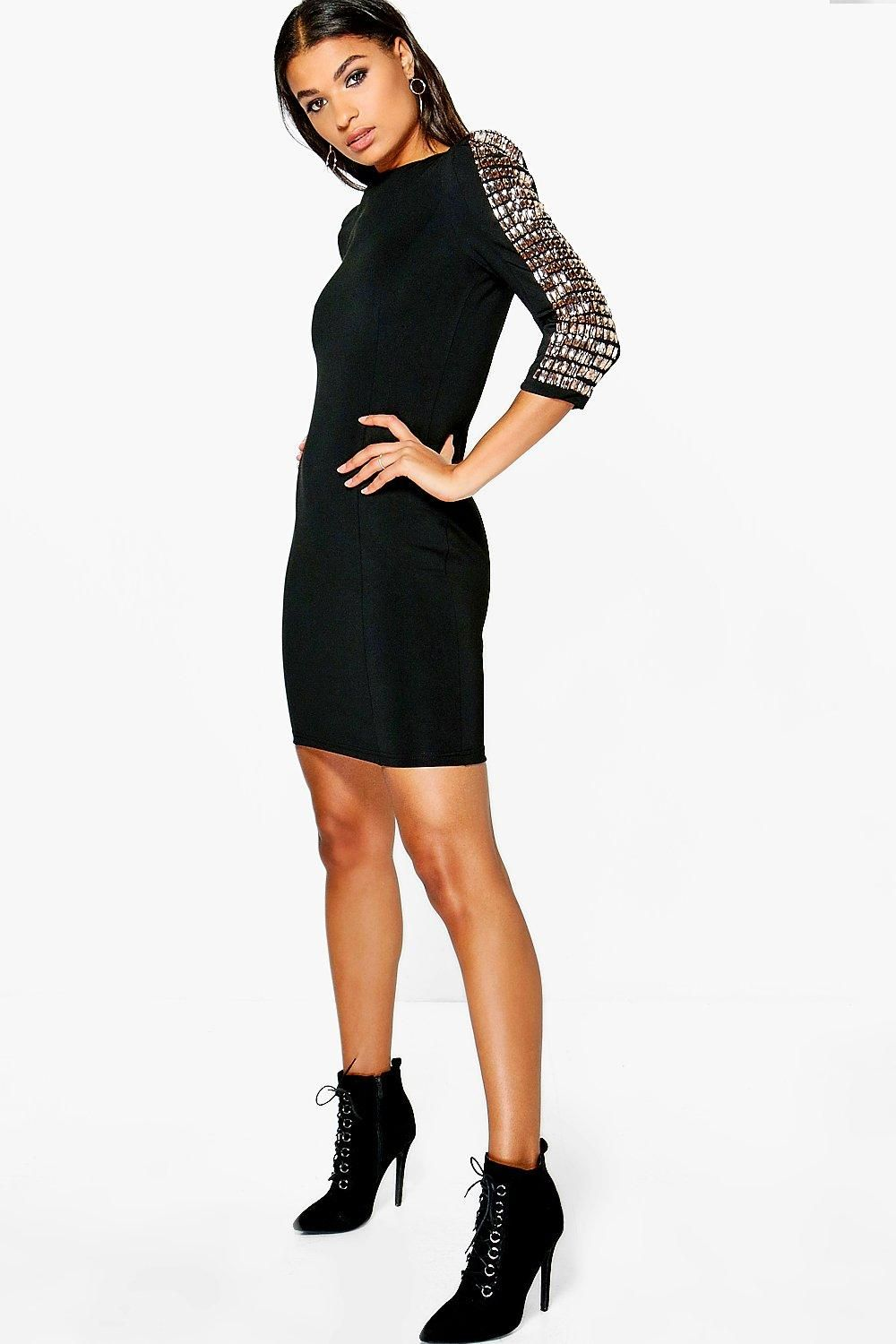 Missguided farera long sleeve cut out embellished bodycon dress in