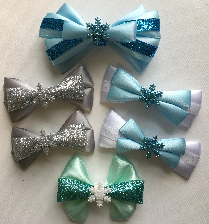 Handmade Snowflake Stocking or Bear Ribbon Covered Hair Clips