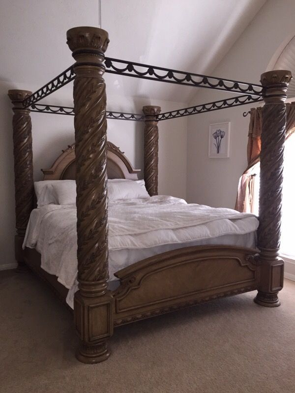Used (normal wear) - King Canopy Bed Frame from Ashley Furniture Details Made : ashley canopy king bed - memphite.com