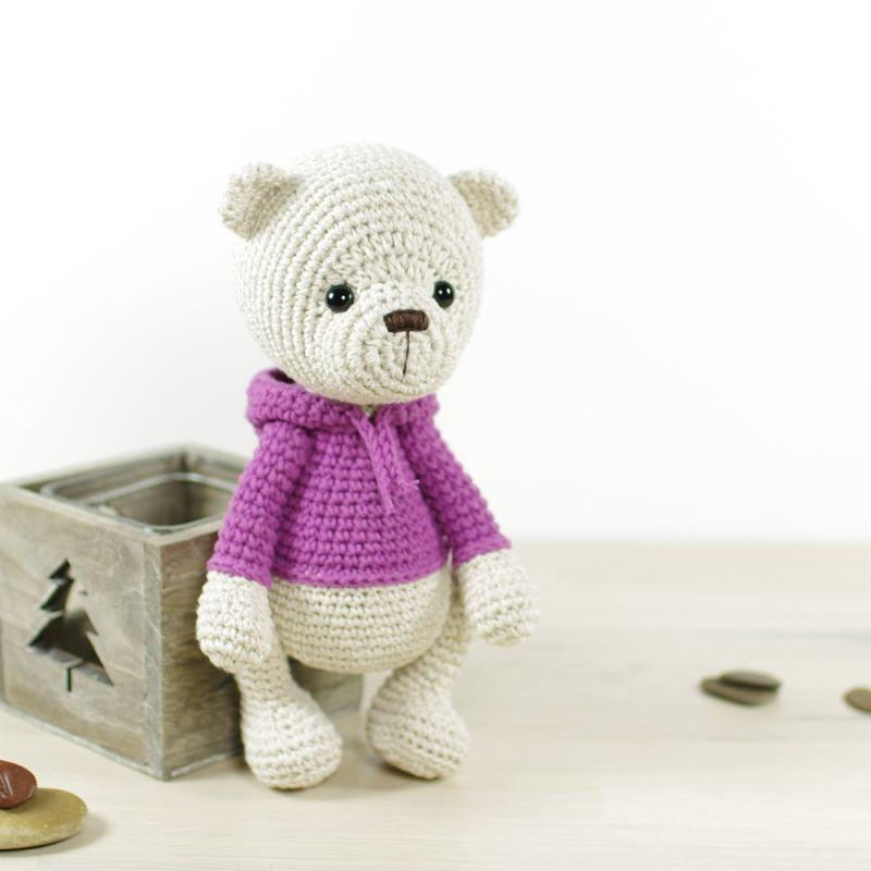 Teddy bear in a hoodie amigurumi pattern by Kristi Tullus ...