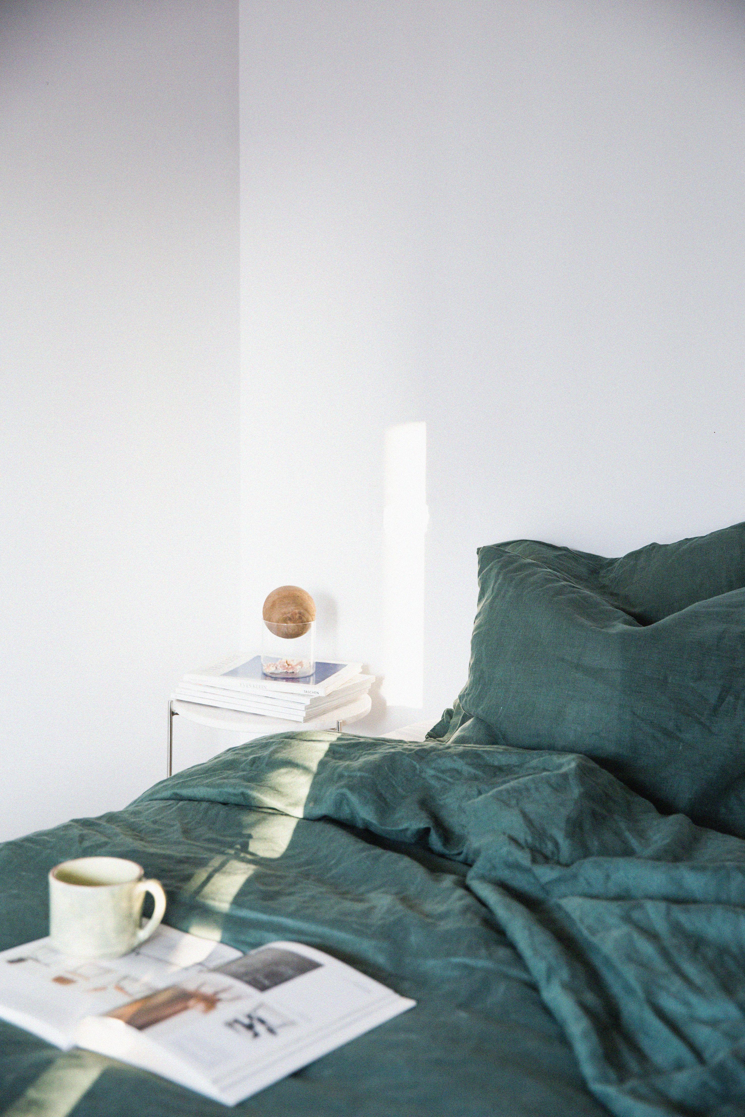 #seamelinen bedding, bedroom, Spain, emerald, green, deep ...