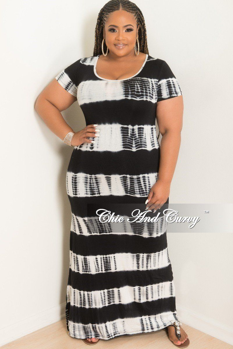 Final sale plus size short sleeve maxi dress in black and white tie
