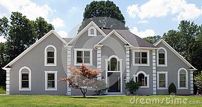Modern House With Gray Exterior, And Blue White Trim. Stock Photo ...
