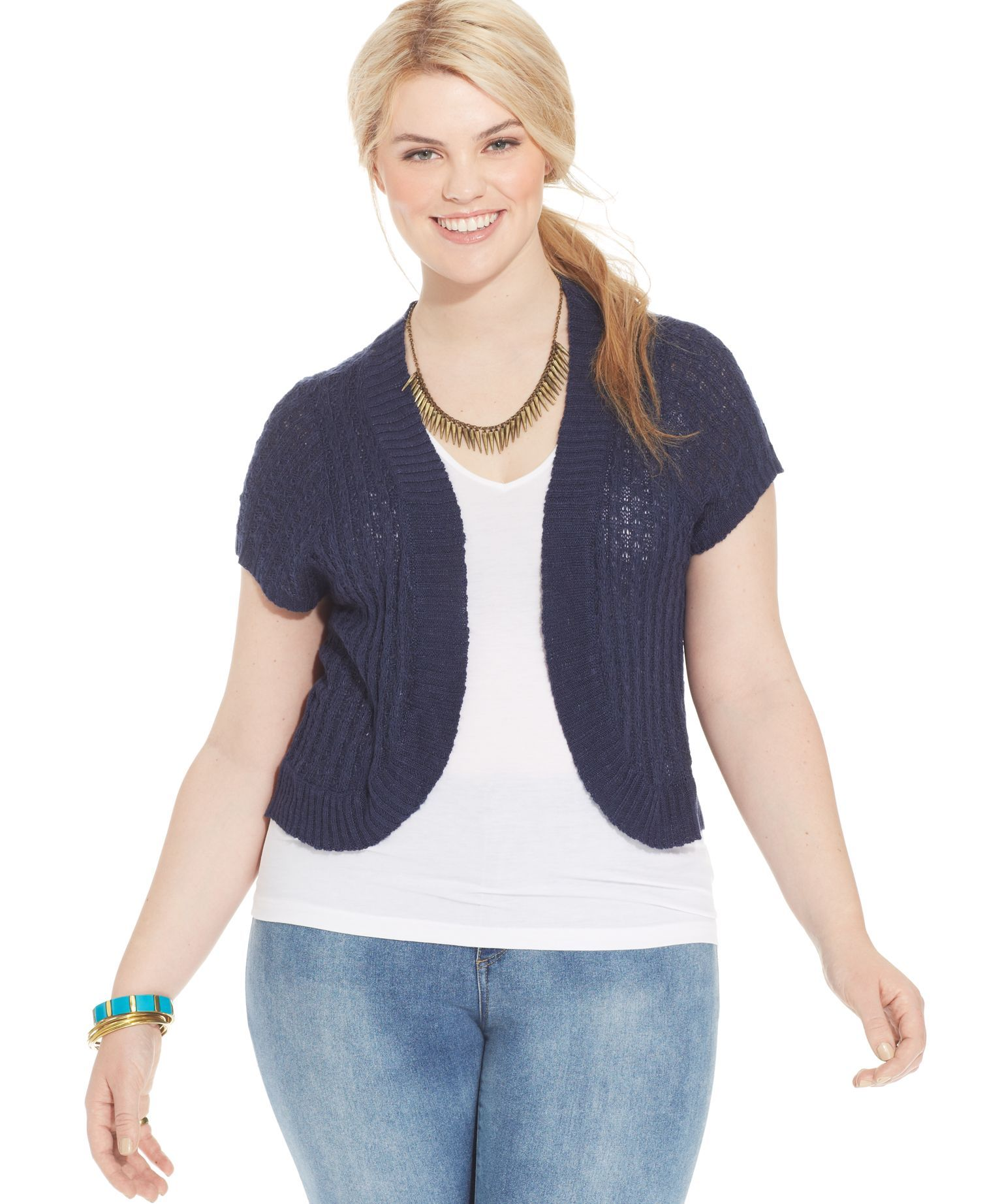 American Rag Plus Size Short-Sleeve Open-Front Cardigan | Products ...