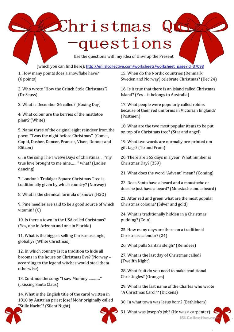 Free Christmas Printable Quiz Questions And Answers (With
