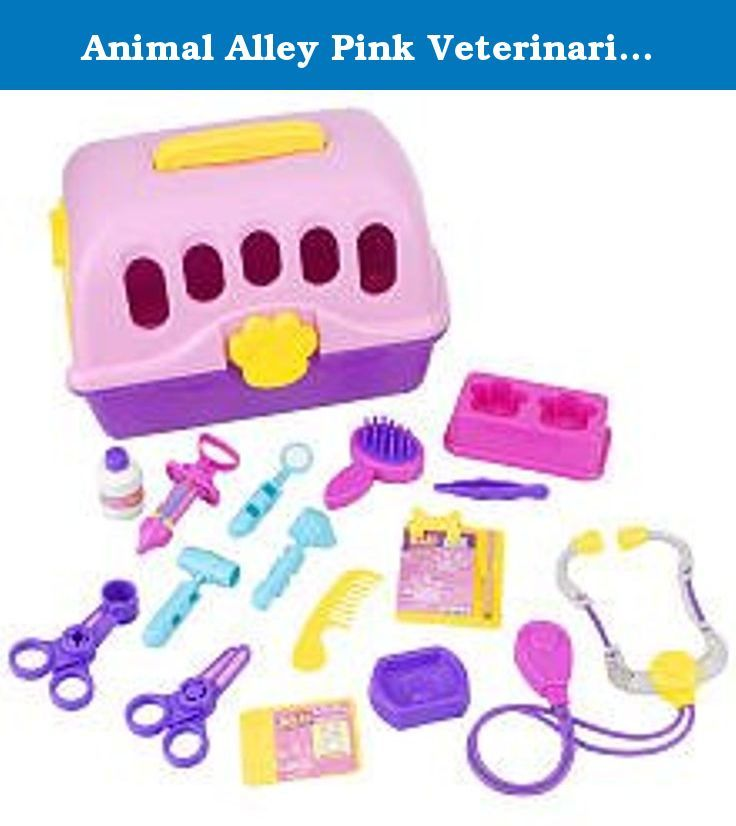Animal Alley Pink Veterinarian Kit 22 Piece Kit Includes Soft Plush Puppy Pet Carrier With Handle Grooming Brush And Comb Veterinarian Cat Party Medical Kit