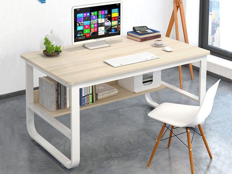Andrea 100cm Computer Desk White In 2020 Desk Computer Desk With Shelves Metal Computer Desk