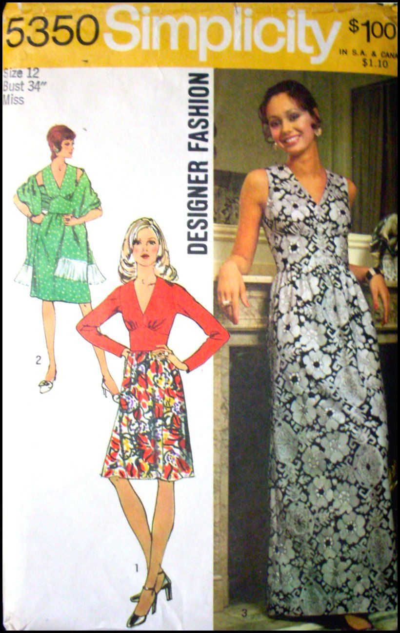 Vintage 1972 -Empire Waist Evening -Day -Dress- Designer Sewing Pattern -Three Styles -V Neckline- Shaped Midriff- Size 12 -Rare. $10.00, via Etsy.