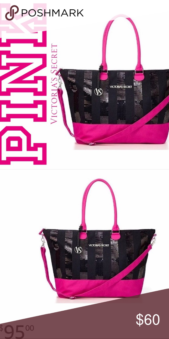 14edcd3822 VS Limited Edition Weekender Tote Bag NWT VS limited edition large  weekender tote bag in pink and black with black bling. Victoria s Secret  Bags