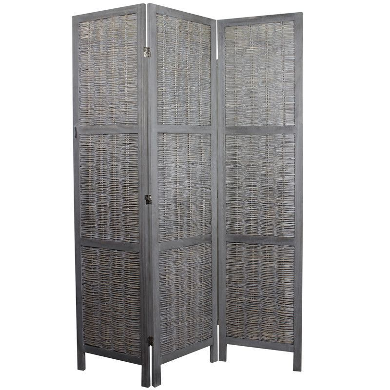 Sophisticated Paulownia Room Divider In Grey Finish