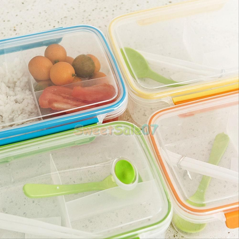 Genial Lunch Box Food Container Picnic Storage Portable Bento Microwave Bowl Spoon  NEW