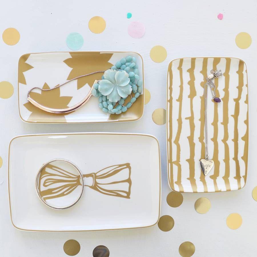 Set of three gold print ceramic trinket trays.Gorgeous set of three ...
