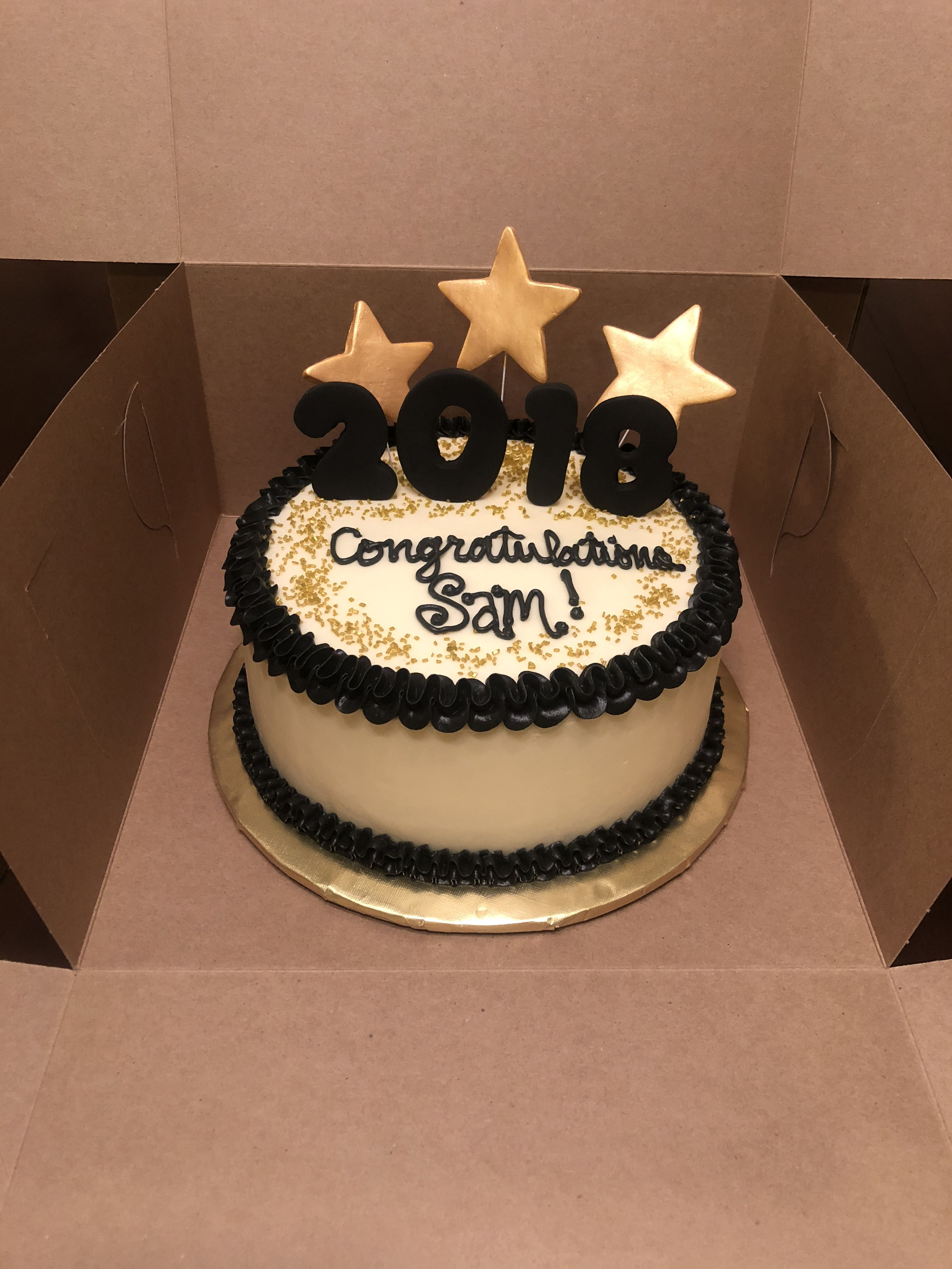 Enjoyable Congratulations Sam This Black And Gold Themed Cake Was For A Personalised Birthday Cards Beptaeletsinfo