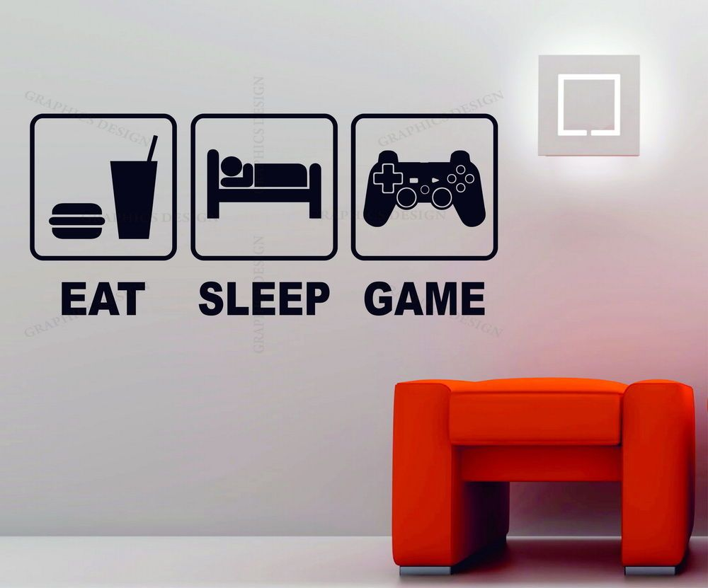 Eat Sleep Game Playstation Xbox Wii Decor Art Vinyl Wall Sticker Ps4 Console In Home Furniture Diy Hom Vinyl Wall Stickers Boys Wall Decor Playstation Room