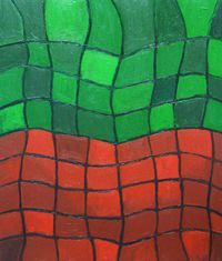 Green And Red Distorted Grids Abstract Geometric Distorted Grid