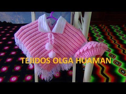 poncho tejido a crochet para bebe o niña paso a paso - YouTube ...