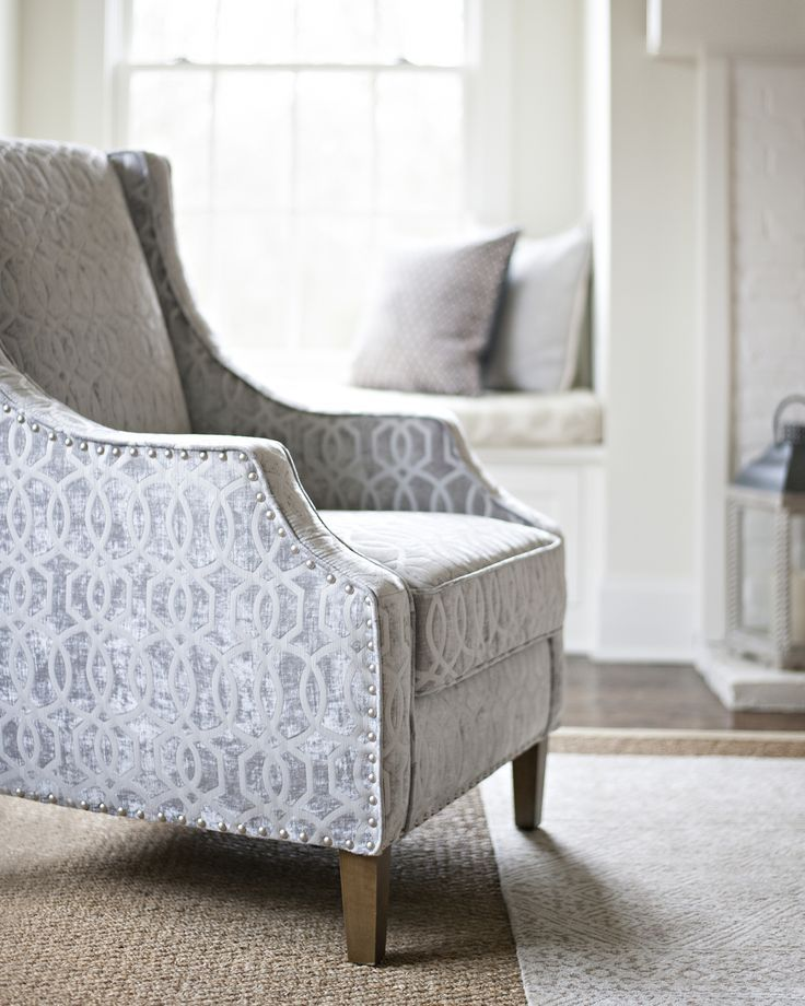 Add A Patterned Pop To Your Neutral Palette With Our Quinn Dove Gray Accent  Chair.