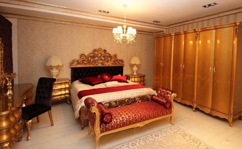 Miami-golden-klasik-yatak-odasi | Bed carveen * custion wood ...