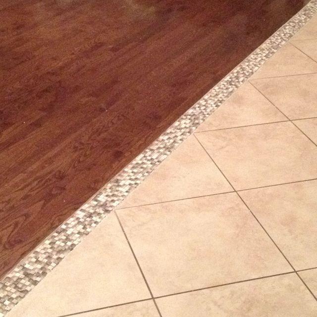 Transition Wood Floor To Tile Ideas: Our Hardwood/tile Transition! Mosaic Tile ;-) I Am In LOVE