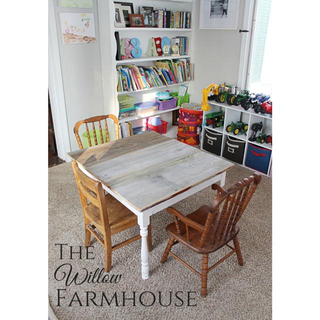 Kids Farm Table using reclaimed barn wood!