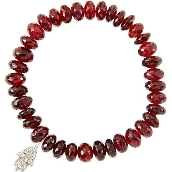 Sydney Evan Design Your Own Bracelet (Made to Order) ($1,260) ❤ liked on Polyvore featuring jewelry, bracelets, garnet, elephant charm bracelet, cross stretch bracelet, evil eye charm bracelet, bead charm bracelet e elephant bracelet