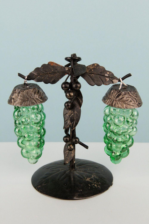 Vintage Grape Vine Salt And Pepper Shaker Green Glass 1930s
