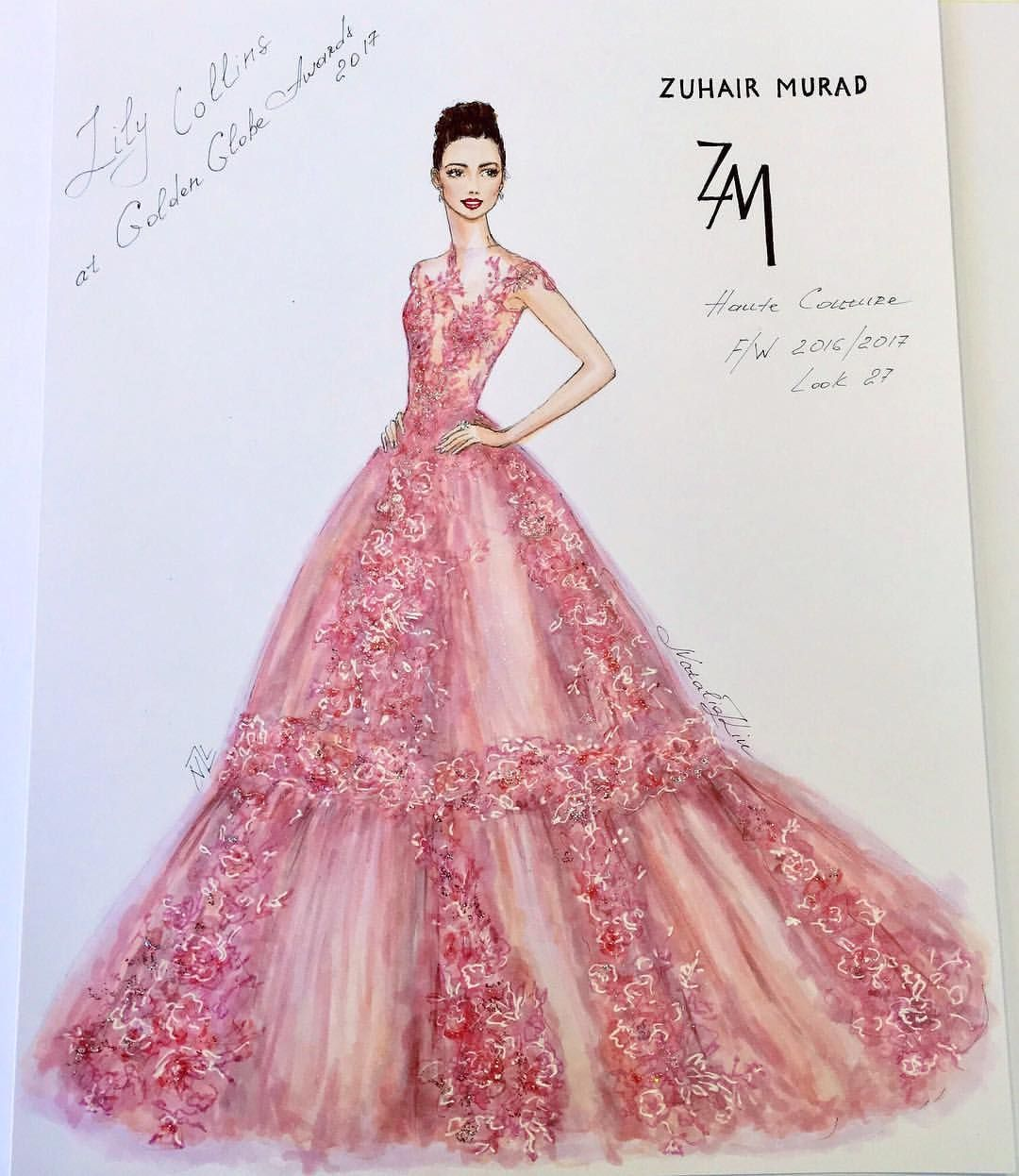 Pink dress drawing  Beautiful BritishAmerican actress and model Lily Collins