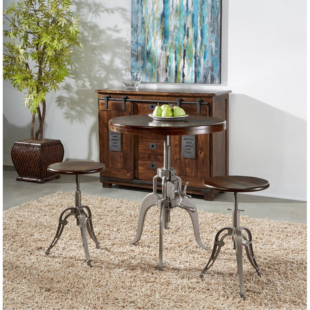 Astonishing Industrial Brown And Silver Adjustable 3 Piece Bar Set Cjindustries Chair Design For Home Cjindustriesco