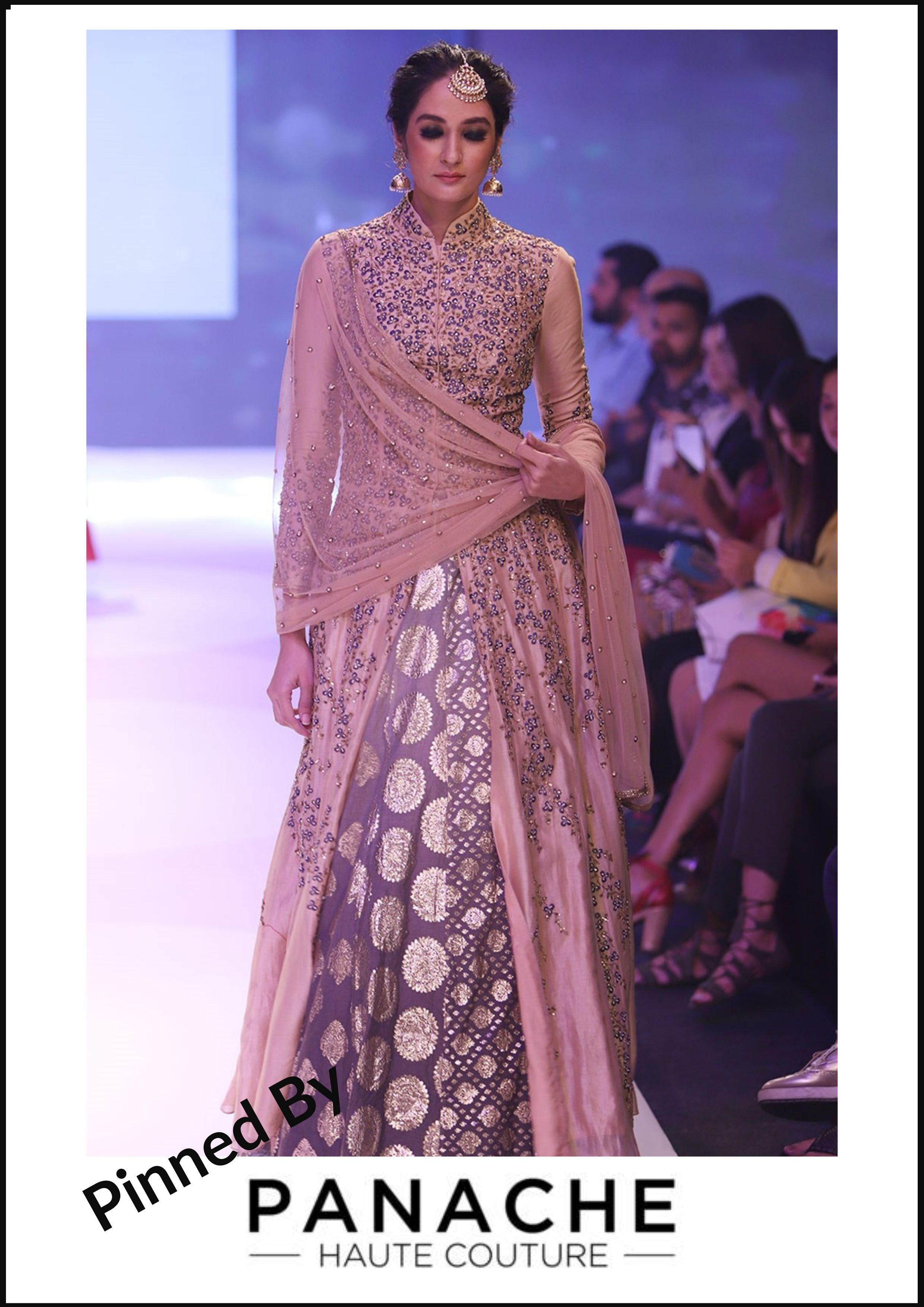 f5c4221e97 ... Panache Haute Couture. Hand-Embroidered Dusty Rose Colour Jacket with  Brocade Lehenga For customisations please contact our sales