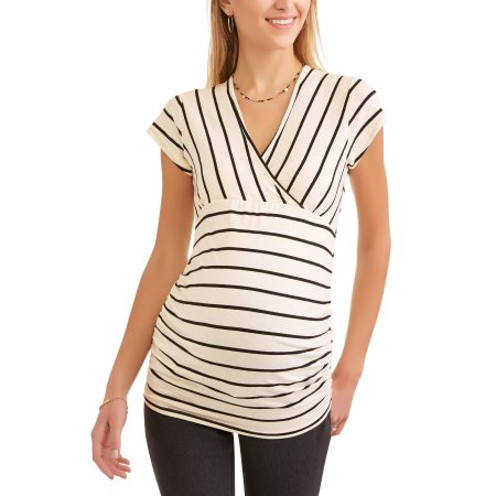 7fa894cf108 Maternity Cap Sleeve Surplice Top-- Perfect For Nursing Available In Plus  Sizes - Walmart