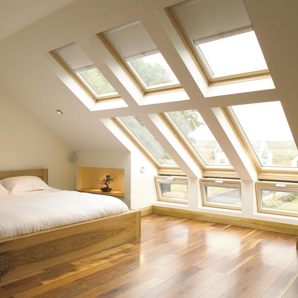 Attic design ideas interior example of - Velux Combination Windows Provide A Complete Solution For The Creation Of Large Areas Of Light To Loft Bedroom Conversions