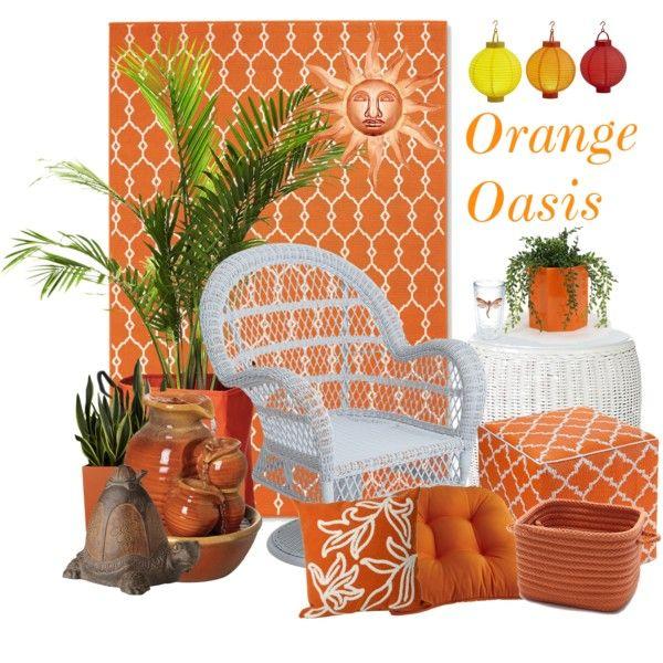 """Orange Oasis Porch Escape"" by mic18 on Polyvore"