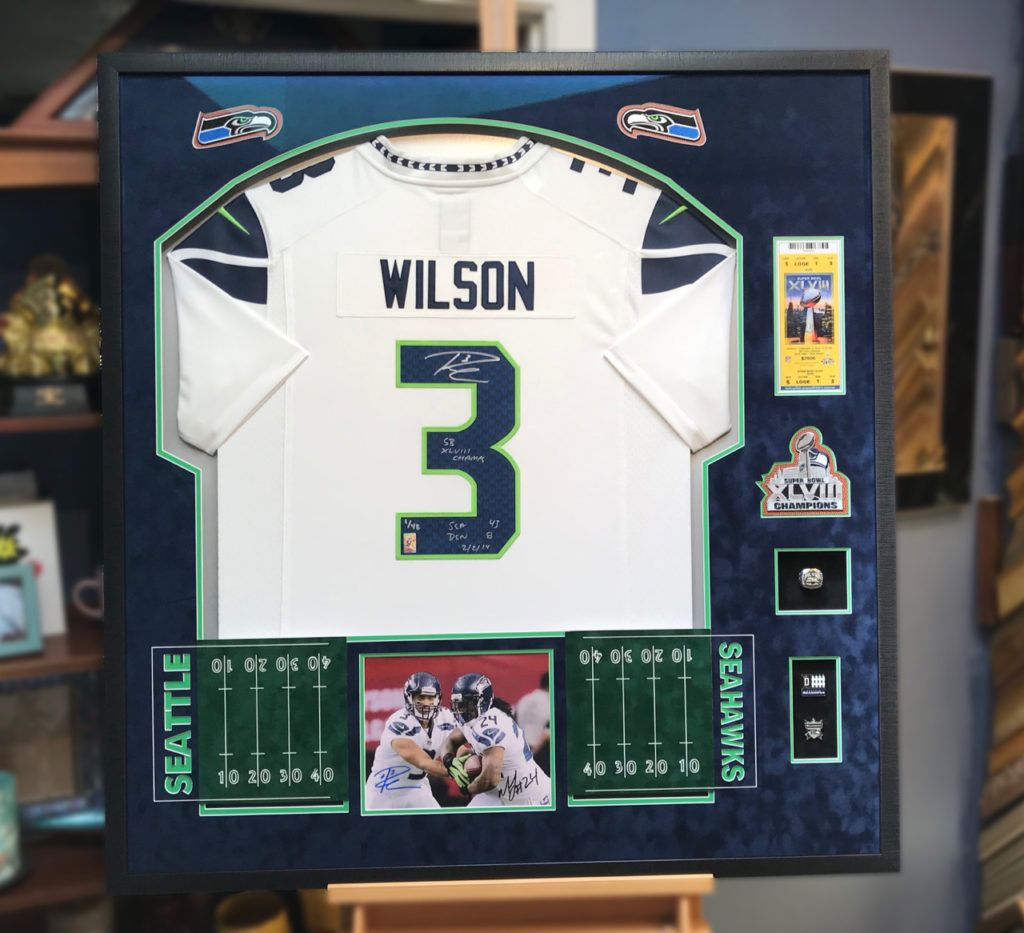 Russell Wilson Superbowl Signed Jersey Framed by Jacquez