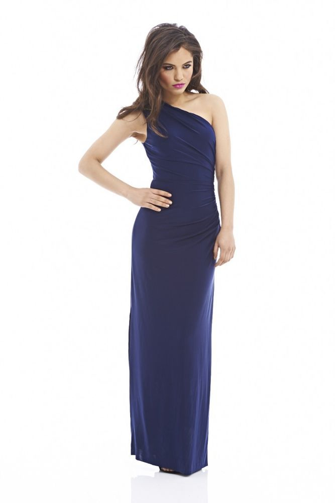 Details about AX Paris Womens Maxi Dress Navy Blue Plain ...